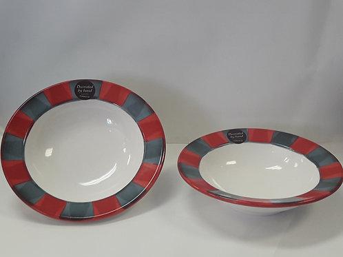 Canterbury Red grey dessert bowl