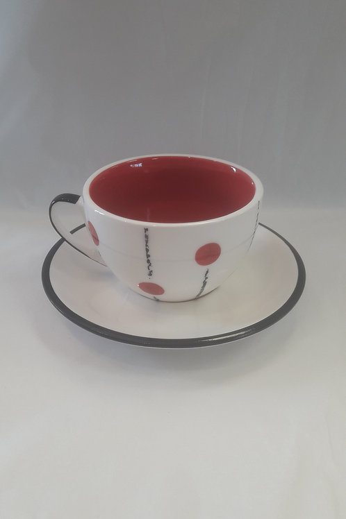 Red Lollipop cup and saucer