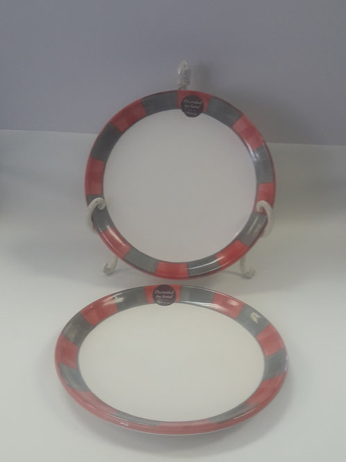 20cm Side Plate Red and Grey