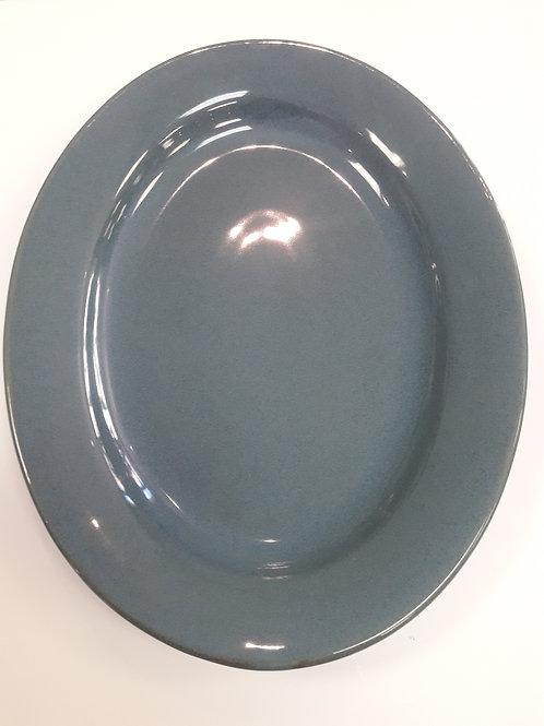 Hazy Blue Oval Platter