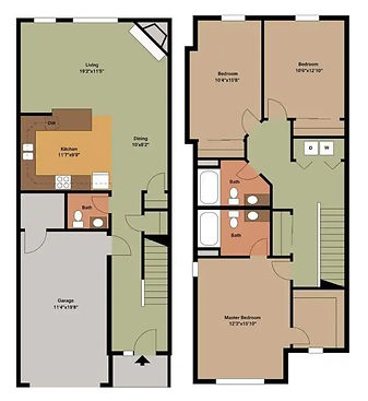 3 Bed / 2.5 Bath Townhome 2D