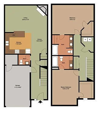 2 Bed / 2.5 Bath Townhome 2D