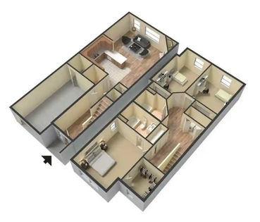 3 Bed / 2.5 Bath Townhome 3D