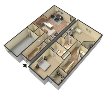 2 Bed / 2.5 Bath Townhome 3D