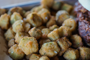 Fried okra close up