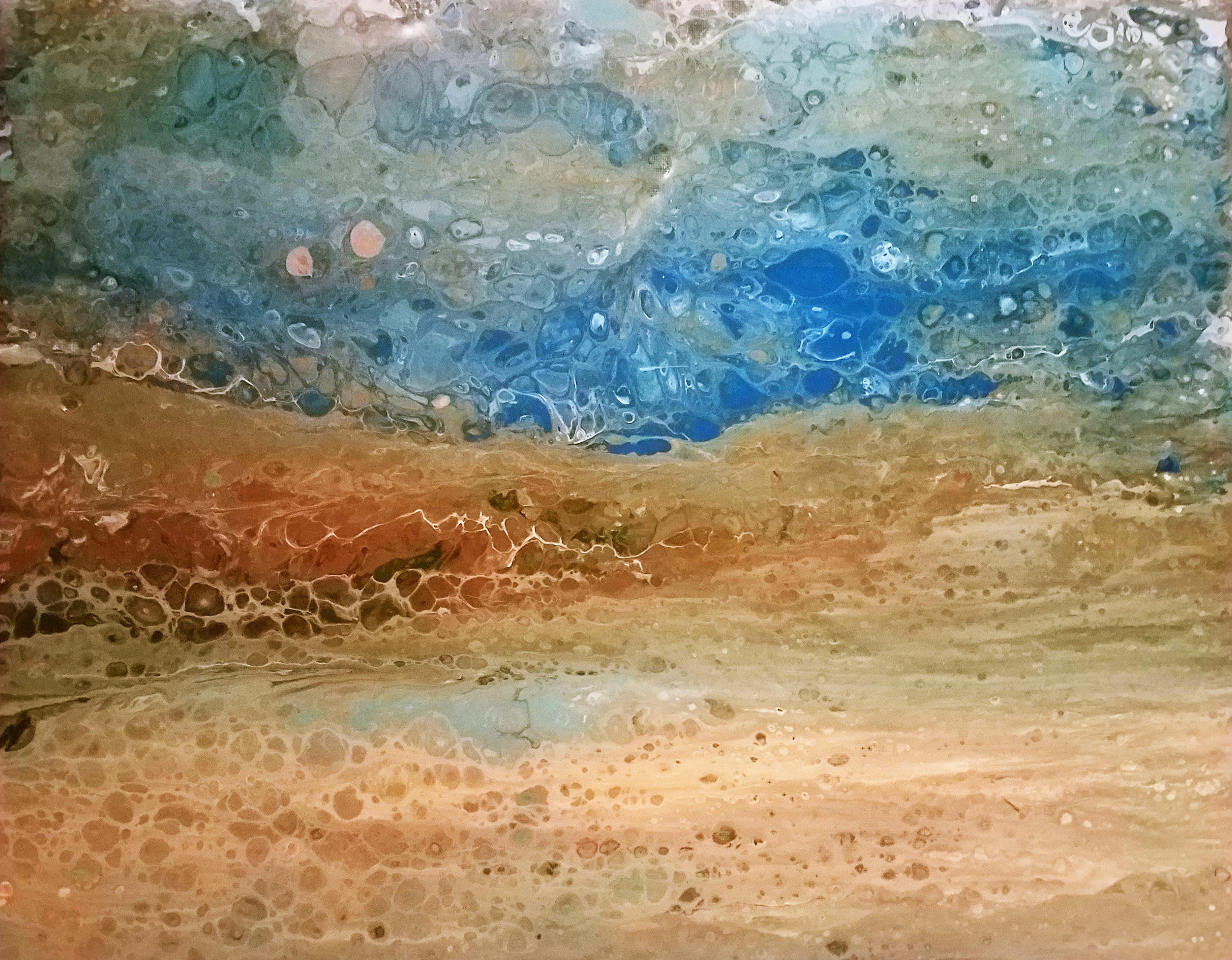 Bright BLue Seascape Pour