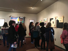 Students visiting Basquiat exhibit