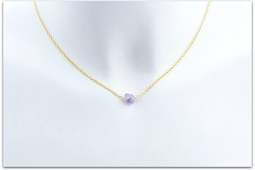 Gold plated sterling silver necklace with amethyst pendant 0007GPC