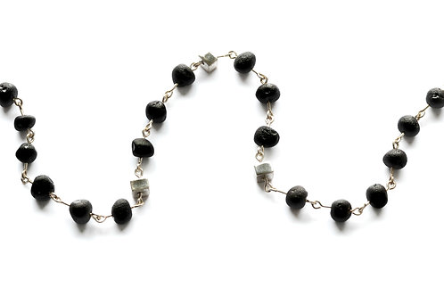 Black Amber 925 Silver Necklace for Girl