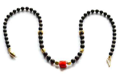Black Amber 22K Gold Plated Red Coral Necklace