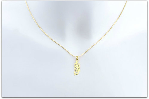 Gold plated sterling silver necklace with peacock feather pendant 0003GPC