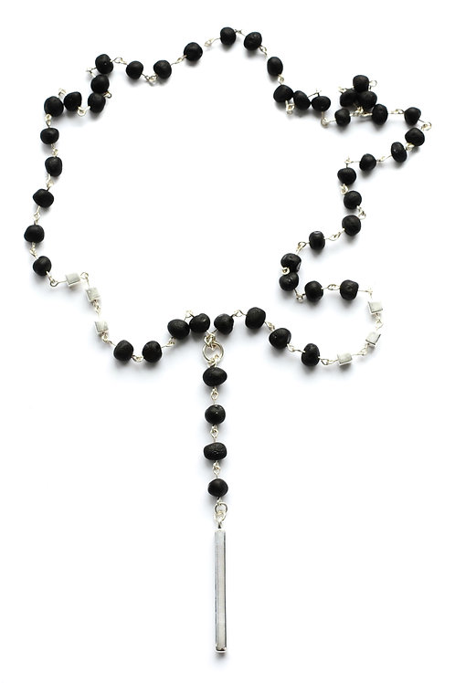 Black Amber 925 Silver Necklace 0024ABSN