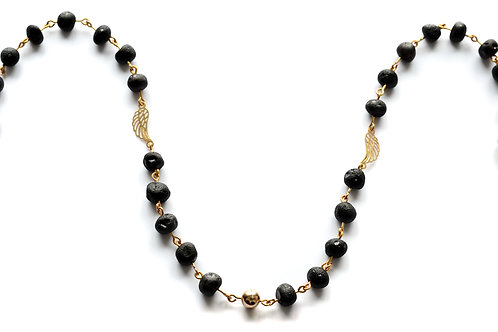 Black Amber 22K Gold Plated Necklace 0026ABGN
