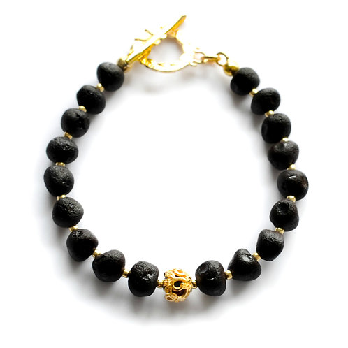 Black Amber 22K Gold Plated Bracelet 0032ABGB