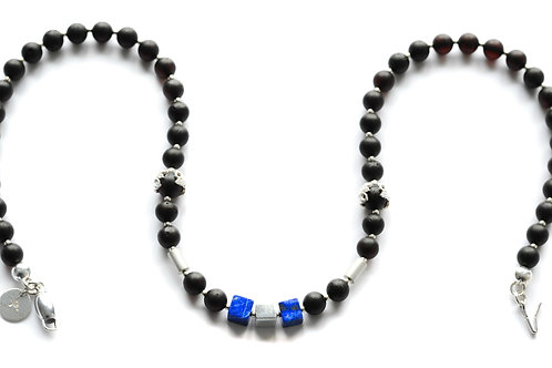 Black Amber 925 Silver Blue Lapis Necklace 0025ABSLN