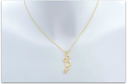 Gold plated sterling silver necklace with bubble pendant 0014GPC