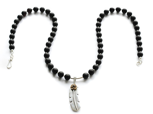 Black Amber 925 Silver Feather Necklace 0008ABSFN