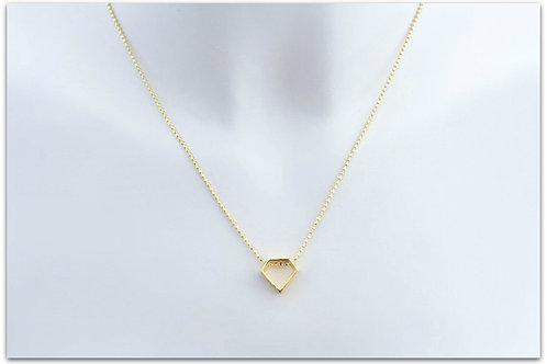 Gold plated sterling silver necklace with diamond shape pendant 0006GPC