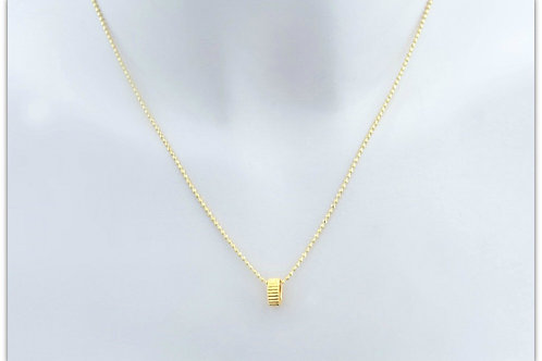 Gold plated sterling silver necklace with ring pendant 0012GPC