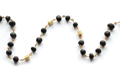 Black Amber Gold Plated Necklace for Girl 0011ABGNKIDS
