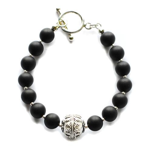Black Amber 925 Silver Bracelet 0034ABSB