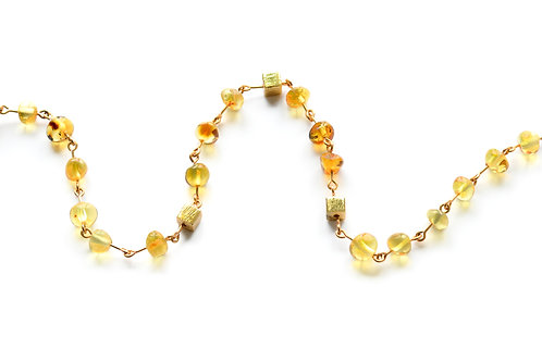 Honey Amber 22K Gold Plated Necklace for Girl