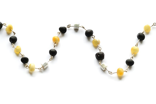 Black and Milk Amber 925 Silver Necklace for Girl
