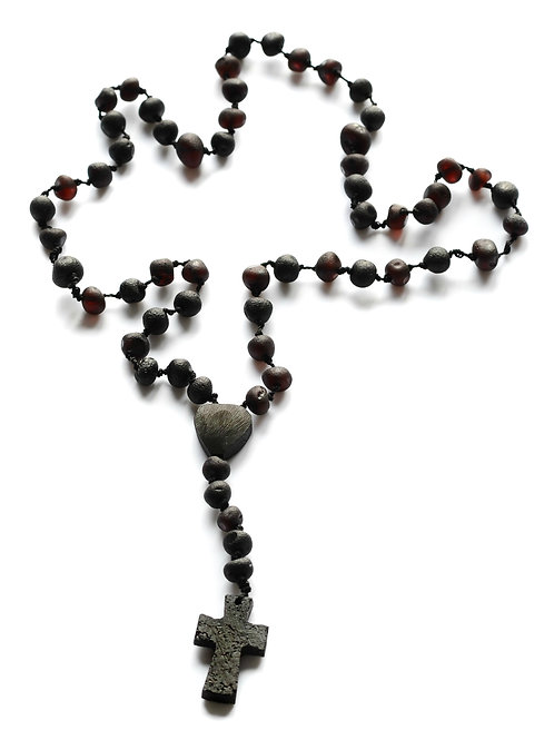 Black Amber Rosary Style Necklace