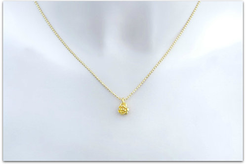 Gold plated sterling silver necklace with rose pendant 0001GPC
