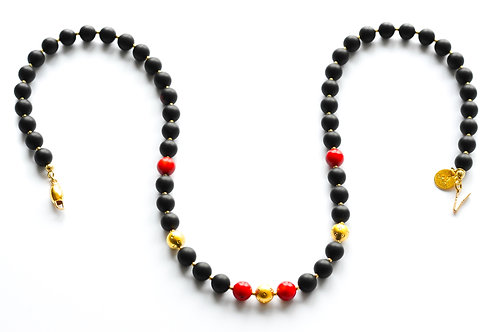 Black Amber 22K Gold Plated Red Coral Necklace 0019ABGCN