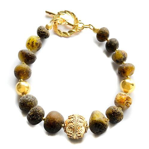 Green Amber 22K Gold Plated Bracelet 0030ABGB