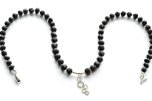 Black Amber 925 Silver Necklace 0022ABSN