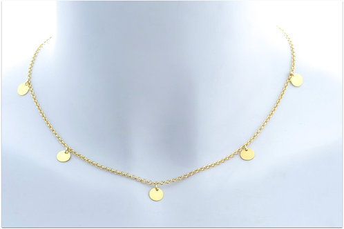 Gold plated sterling silver necklace with tiny disk charms