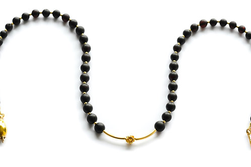Black Amber 22K Gold Plated Necklace 0023ABGN