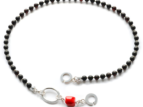 Black Amber 925 Silver Red Coral Necklace 0018ABSCN