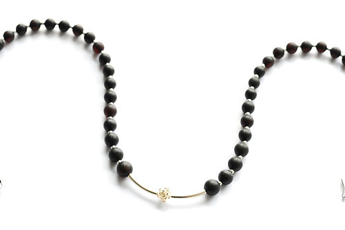 Black Amber 925 Silver Necklace 0027ABSN