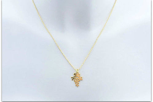 Gold plated sterling silver necklace with flower pendant 0016GPC