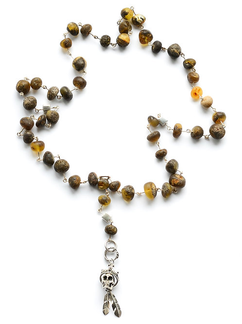 Green Natural Baltic Amber Bead Necklace