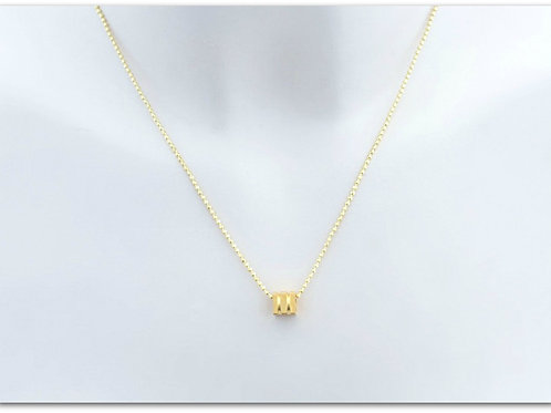 Gold plated sterling silver necklace with square pendant 0013GPC