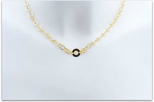 Gold plated sterling silver necklace with ring pendant 0008GPC