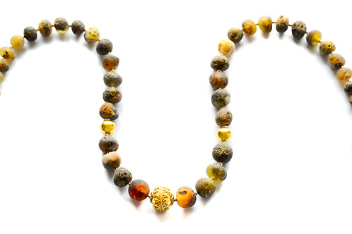 Green Amber 22K Gold Plated Necklace 0029AGGN