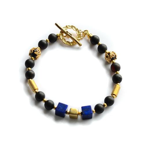 Black Amber 22K Gold Plated with Lapis Stones Bracelet 0031ABGB