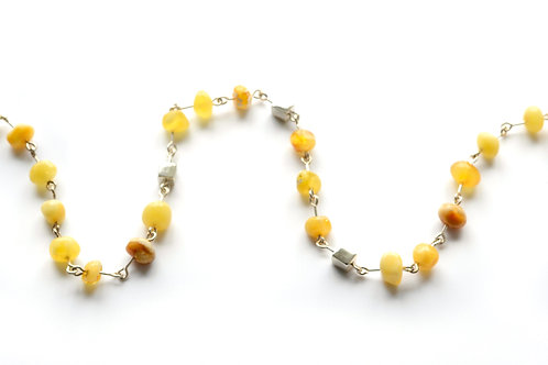 Milk Amber 925 Silver Necklace for Girl
