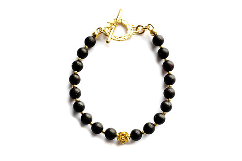 Black Amber 22K Gold Plated Bracelet 0036ABGB