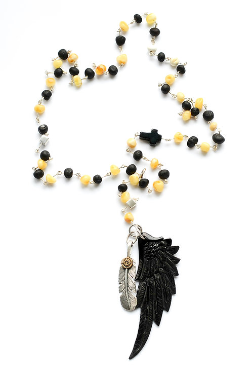 Black and Milk Amber Wing and Drop Bar Column Pendant Necklace  0001ABMSN