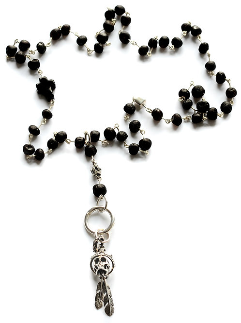 Black Amber 925 Silver Skull Pendant Necklace 0007ABSSPN
