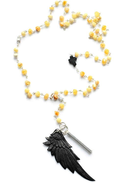 Milky Baltic Amber Bead Necklace with Hand carved Wing Pendant