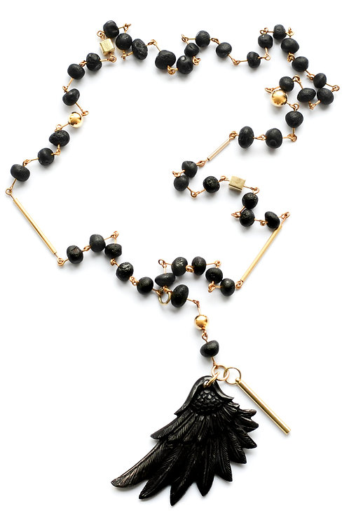 Black Amber 22K Gold Filled Wing Pendant Necklace 0006ABGFN