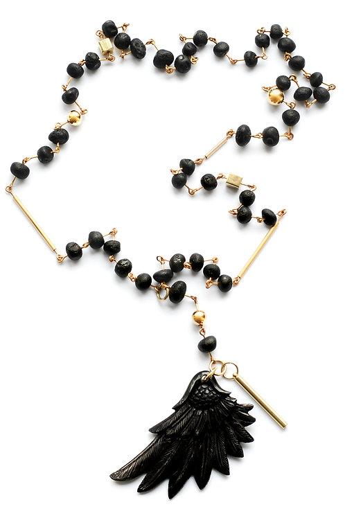 Black Amber 22K Gold Filled Wing Pendant Necklace