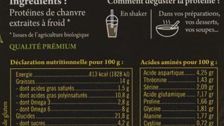 """Indications nutritionnelles des protéines de la gamme """"Sport"""""""